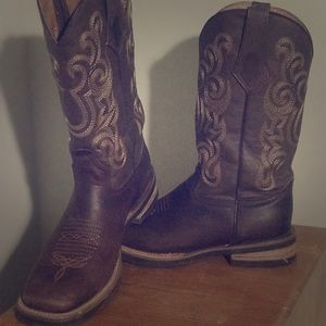 Men's Ferrini Chocolate Square toe boots